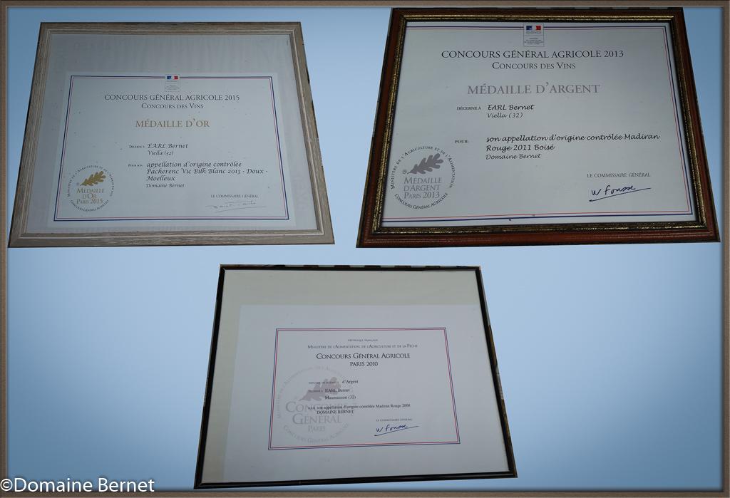 Médailles et récompenses Domaine Bernet